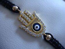 Hamsa  Sterling Silver 925 Black Macrame Bracelet Cz Crystal Kabbalah Silver Bar