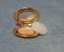 Gold Compact, Doll House Miniatures. Bedroom Makeup Make Up Accessory 1:12th