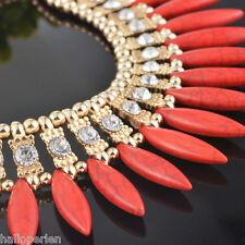New Women Crystal Pendant Chain Choker Chunky Statement Bib Necklace