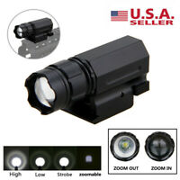 3000LM LED Zoomable Flashlight Gun Torch Lamp Light 3-Mode 20mm Picatinny Mount