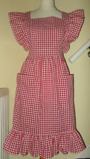"Frilly 'Red Gingham' Vintage Style Bib Apron/Pinny(24""loop waist band)"
