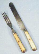 Antique Bone Handle Knife & Fork Pewter Inlay American Cutlery Steer Bovine