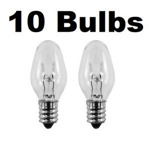 7 Watt, C7 Night Light, 130 Volt, Clear, E12 Candelabra Base 10 BULBS