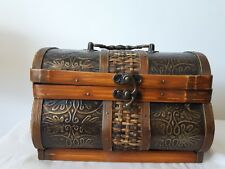 Rustic Treasure Chest Jewelry box metal handle Case Box Small turn lock wood mix