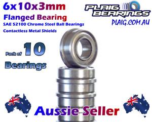 6x10x3mm Flanged (10) RC Bearings Metal Shields Plaig Bearings MF106-ZZ Flange