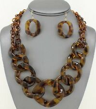 Multi Brown Tortoise Connected Lucite Hoop Necklace earring set