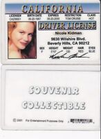 Actress Nicole Kidman Collectible card Drivers License fake id card