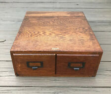 Antique 2 Drawer Oak Library Card Catalog, Excellent Condition w/ Great Patina!