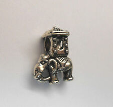 TIBETAN SILVER ELEPHANT CARRYING HOWDAH EUROPEAN CHARM BEAD **