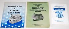 Lot ~ Merrow Descriptive List of Parts ~ Class 70, Class Mg & Class M Machines