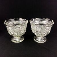 "Set 2 Clear Cut Glass Crystal Pedestal Bowls Planters Irish Lace Pattern 7""x8"""