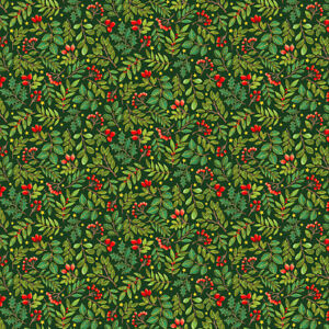 Makower Christmas Classic Foliage on green100% COTTON CRAFT/QUILTING per1/4m