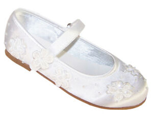 Girls White Satin Ballerina Shoes Flower Girl Bridesmaid Wedding Party Occasion