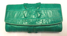 Genuine Crocodile Wallets Skin Leather Tail Trifold Women's Clutch Green