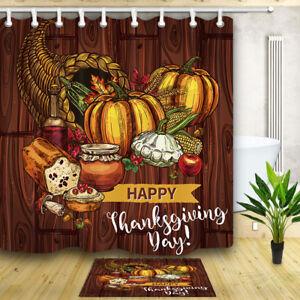 Thanksgiving harvest Bathroom Shower Curtain Waterproof Fabric12 Hooks 180*180cm