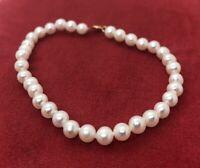 """14k Gold Estate Vintage Bracelet Pearls Signed PJS 7"""""""