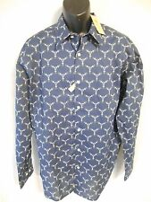 Haggar Original Cotton Blnd Fitted 16 ½ Neck 34/35 Blue Geometric Shirt SR$54NEW