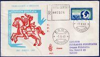 1963 - FDC Venetia - Conferenza Postale - Viaggiata per raccomandata - n.201It
