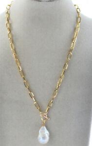 "Huge 25mm Natural White Baroque Keshi Reborn Pearl Pendant Chain Jewelry 19"""