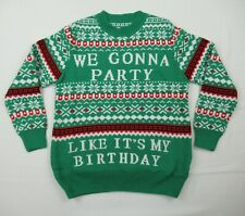 Christmas Holiday Sweater ~ We Gonna Party Like It's My Birthday Size L