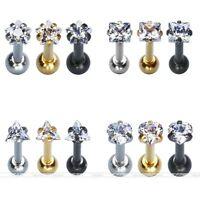 16G 3mm CZ Crystal Bar Barbell Ear Cartilage Tragus Helix Stud Earrings Piercing
