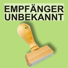 EMPFÄNGER UNBEKANNT - Holzstempel 10 x 35mm Büro Stempel