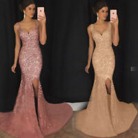 Elegant Women's Summer Cocktail Evening Party Prom Ball Gown Maxi Dress Sequin