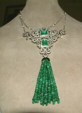 18CT GOLD 2 X SQUARE EMERALD  & DIAMOND PENDANT 5.66CT  OF DIAMONDS  50.00CT EME
