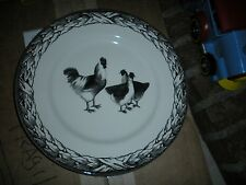 "CARLY DODSLEY ROYAL STAFFORD BLACK CREAM CHICKEN ROOSTER HEN 11"" DINNER PLATE"