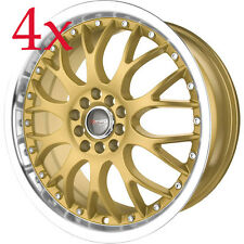 Drag Wheels DR-19 17x7.5 5x100 5x114 Gold Rims For Impreza Tiburon Is250 TL TSX