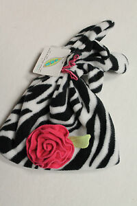 Baby Girl 12-24 Months Fleece Zebra Striped Hat with Pink Rose & Mittens NEW