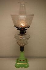 ANTIQUE SANDWICH GLASS OIL OLD PARLOR KEROSENE APPLE GREEN EAPG AMERICAN LAMP