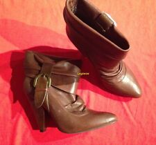"""Jessica Simpson 5"""" Heel Ankle Boots Womens 8.5 New Brown Leather Booties Buckle"""