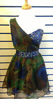 Womens Dress Gem Sequin Embellished Prom Grecian Evening Party Prom Draped Mini