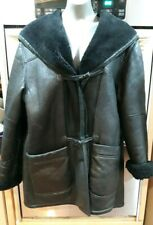 Shearling by Delino Sheepskin Black Leather Hooded Coat~Size XL~(made in USA)