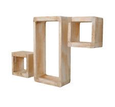 Ts-ideen Set 3 mensole Scaffali comodini Shabby legno bainco Cubo Design