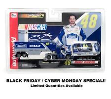 Auto World SC317 Jimmie Johnson Race Slot Car & Truck Transporter (2-pack)