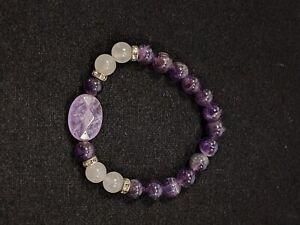 Artisan Amethyst Polished Round Bead Stretch Bracelet 12991