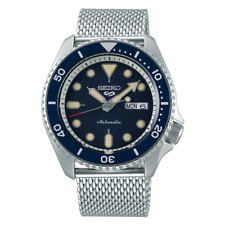 NEW Seiko 5 Sports Men's Blue Bezel Dive Watch SRPD71 Automatic Mesh Strap