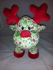 "Christmas Print Reindeer Red Nose Antlers Feet Green Plush Lovey 16"" Fiesta Toy"