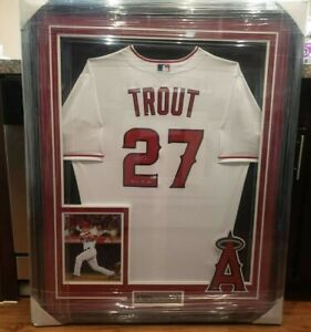 MIKE TROUT Signed Autographed FRAMED White Baseball Jersey w/Incrip MLB HOLO