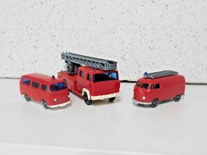 Wiking !/87 Fire Vehicles Volkswagen T1 Van, VW T2 Van Magirus Ladder Truck Used