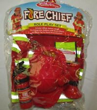NEW MELISSA & DOUG FIRE CHIEF ROLE PLAY SET WITH JACKET, HELMET, BULLHORN + MORE