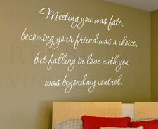 Wall Decal Sticker Quote Vinyl Lettering Graphic Meeting You Was Fate Love L64