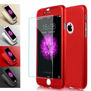HYBRID SHOCKPROOF PHONE CASE COVER AND TEMPERED GLASS FOR iPHONE MODELS