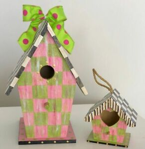 MY OWN HP Courtly 'Mother & Daughter' Wood Birdhouses - Lily Pink & Green Check