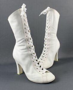 Rochas Women's Ivory Leather Lace Up Mid Calf Boot Shoe Size 38 8