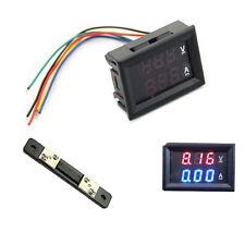 LED Digital Voltmeter Ammeter Amp Volt Meter + Current Shunt DC 100V 10A Dual US