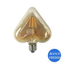 LAMPADINA FILAMENTO CUORE AMBRA E27 4W VINTAGE RETRO LUCE BIANCO FREDDO 6500K