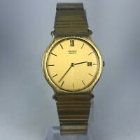 Vintage Seiko Mens 5Y39-8A09 Gold Tone Stainless Steel Date Indicator Watch